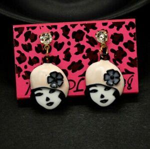 Beanie Girl enamel earrings with crystal.